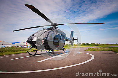 The helicopter in airfield