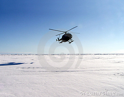 Helicopter in Antarctica