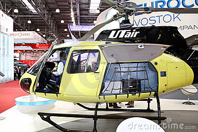 Helicopter AS 350 Franco-German company EUROCOPTER Editorial Stock Photo