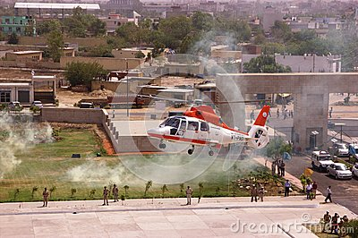 Helicopter as a taxi about to land Editorial Stock Image
