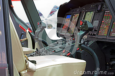 Helicopter cabin with panel
