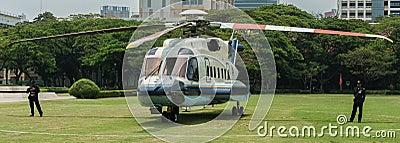 Helicopter at Chulalongkorn University Editorial Photo