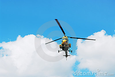 The helicopter in flight