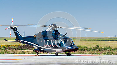 Helicopter on ground copy space