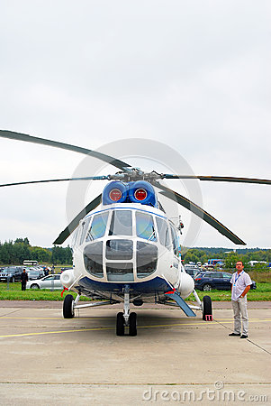 Helicopter at International Aerospace Salon MAKS-2 Editorial Stock Photo