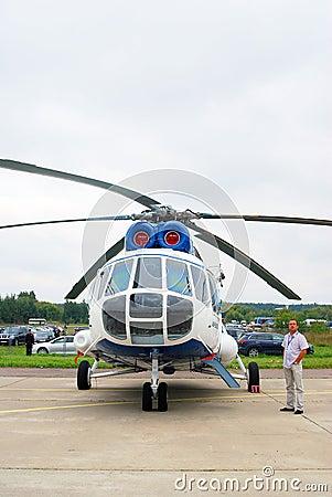 Helicopter at International Aerospace Salon MAKS-2 Editorial Stock Photo