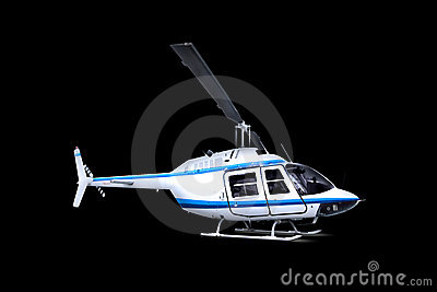 Helicopter isolated over black