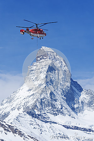 Helicopter and mountain