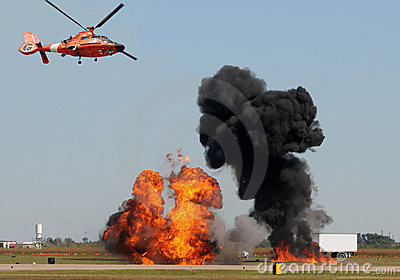 Helicopter observing fire