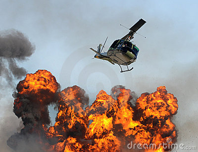 Helicopter over fire