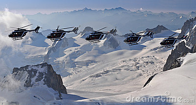 Helicopter patrol in Mont Blanc