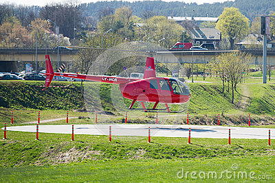 Helicopter Robinson R44 In Vilnius, Lithuania Editorial Photo ...