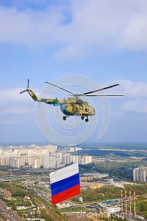 Helicopter with russian flag over Moscow