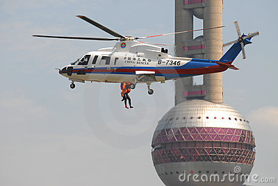 Helicopter search and rescue exercise Editorial Photography