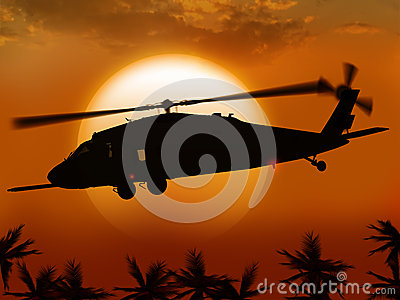 Helicopter and sun