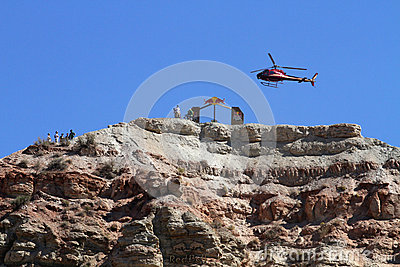 Helicopter on top of mountain venue Editorial Photo