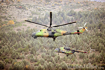 Helicopters in action