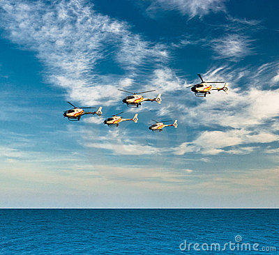 Helicopters of aerobatic team Patrulla Aspa Editorial Photo