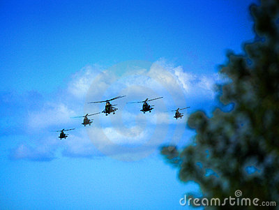 Helicopters in attack