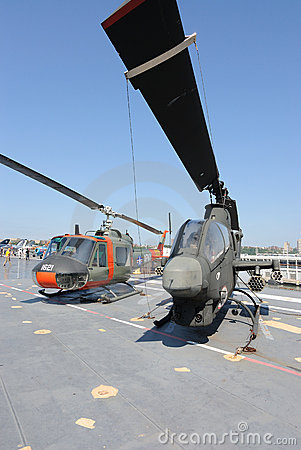 Helicopters on Deck of the USS Intrepid Editorial Photo
