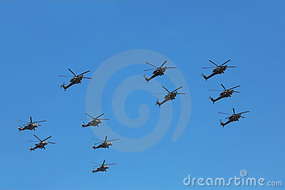 Helicopters Mi-24 and Mi-28n on parade Editorial Stock Photo