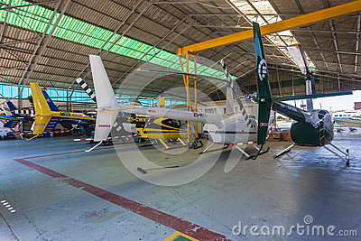 Helicopters Private Hangar Editorial Stock Photo