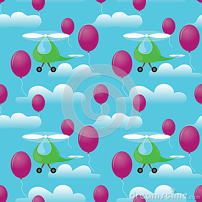 Helicopters seamless pattern