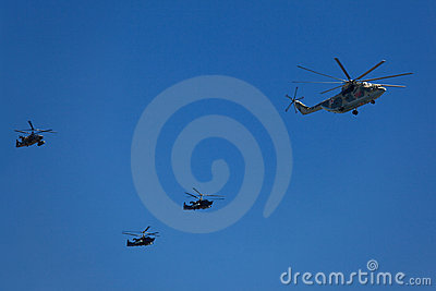 Helicopters in the skies Editorial Stock Image