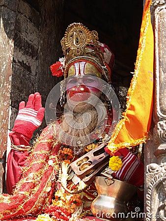 Helig nepal sadhu Redaktionell Arkivbild