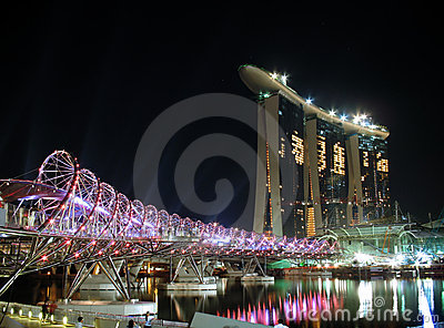 The Helix bridge & Marina Bay Sands Editorial Stock Image