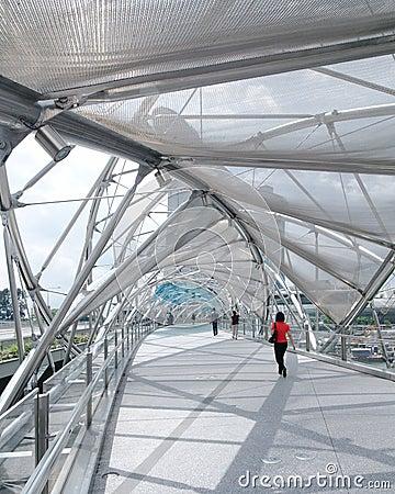 Helix Bridge, Marina Bay Waterfront, Singapore Editorial Stock Image