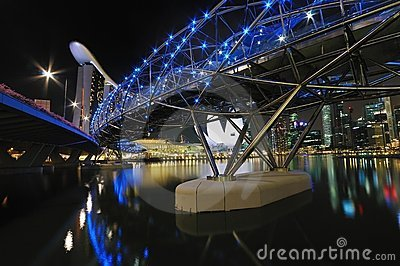 Helix Bridge overlooking Marina Bay Sands Hotel Editorial Image