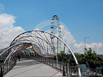 Helix Bridge & Singapore Flyer Editorial Photography