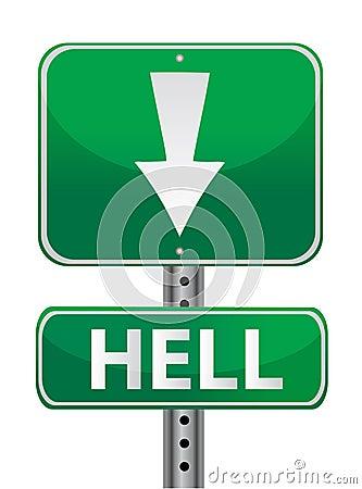 Hell green street sign illustration design over