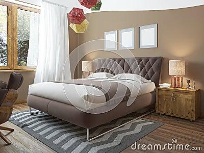 Schlafzimmer Dachboden-ähnlich Mit Holzmöbel Und Weißen Wänden ...