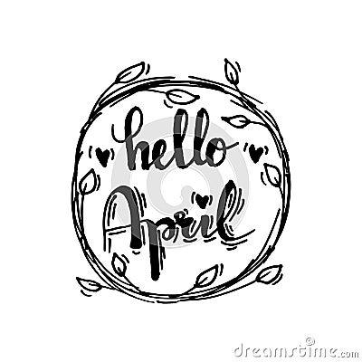 Hello april Vector Illustration