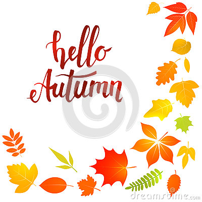 Free Hello Autumn Lettering With Yellow Leaves Royalty Free Stock Images - 75852379