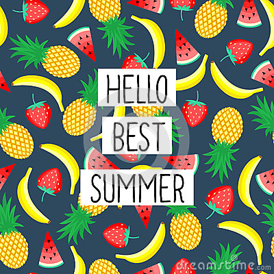 Free Hello Best Summer Phrase On Seamless Pattern With Yellow Bananas, Pineapples And Juicy Strawberries. Stock Images - 73430534