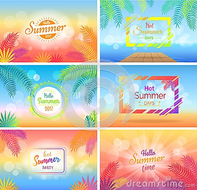 Hello Hot Summer Days Posters Set on Blurred Vector Illustration
