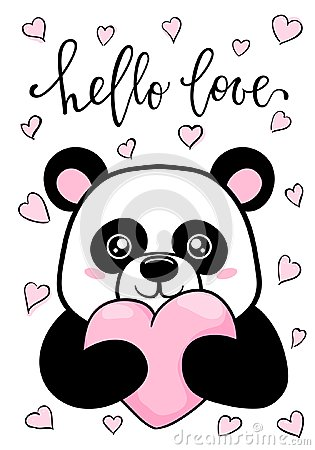 Free Hello Love. Hand Drawn Creative Calligraphy And Brush Pen Lettering. Cute Panda Holds Big Heart. Design For Holiday Greeting Card Royalty Free Stock Images - 108721259