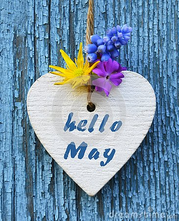 Free Hello May Greeting Card With Decorative White Heart And Spring Flowers On Old Blue Wooden Background. Stock Photo - 145416550