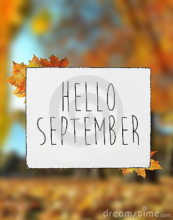 Free Hello September Autumn Text On White Plate Board Banner Fall Lea Stock Image - 123667001