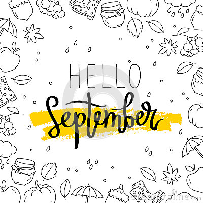 Free Hello September. The Trend Calligraphy. Stock Photos - 73071633