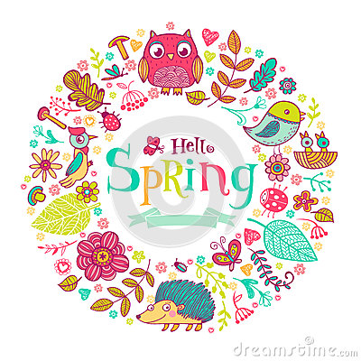 Hello Spring banner in doodle style Vector Illustration