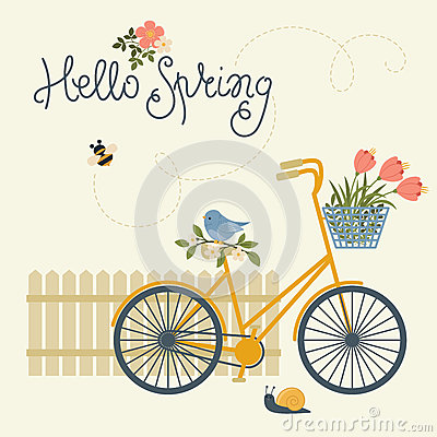 Free Hello Spring Card Royalty Free Stock Images - 84501149