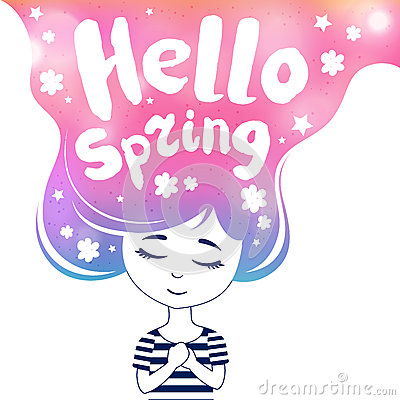 Hello spring, dreaming girl, colored Vector Illustration