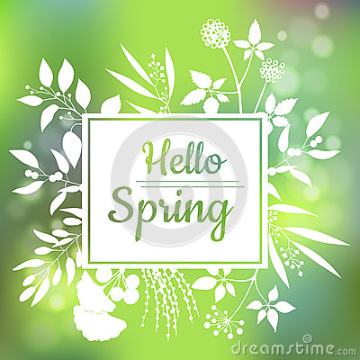 Free Hello Spring Green Card Design With A Textured Abstract Background And Text In Square Floral Frame Stock Photo - 83801210