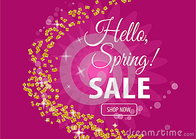 Hello spring sale banner Vector Illustration