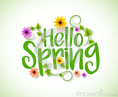 Hello Spring Vector Design with 3D Realistic Fresh Plants and Flowers Vector Illustration