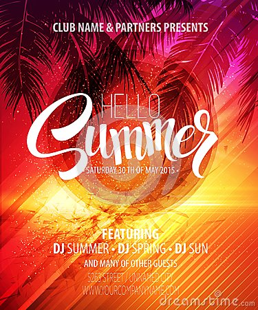 Free Hello Summer Beach Party Flyer. Vector Design Royalty Free Stock Image - 54836246
